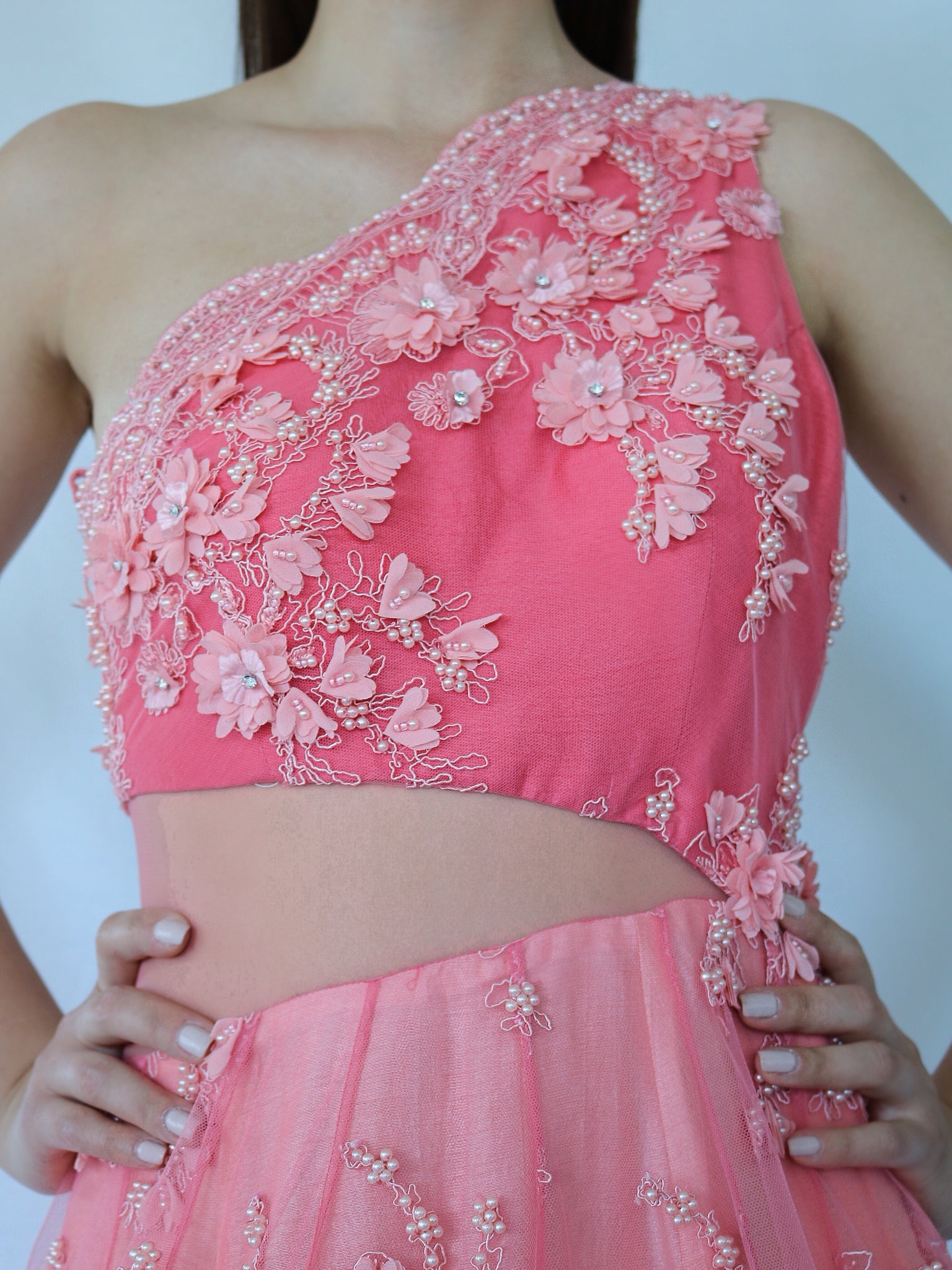 sexy pink evening gown for wedding