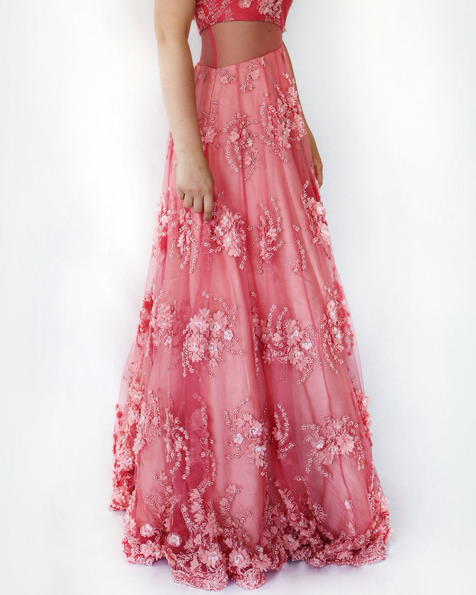 Pink wedding reception dress and gown