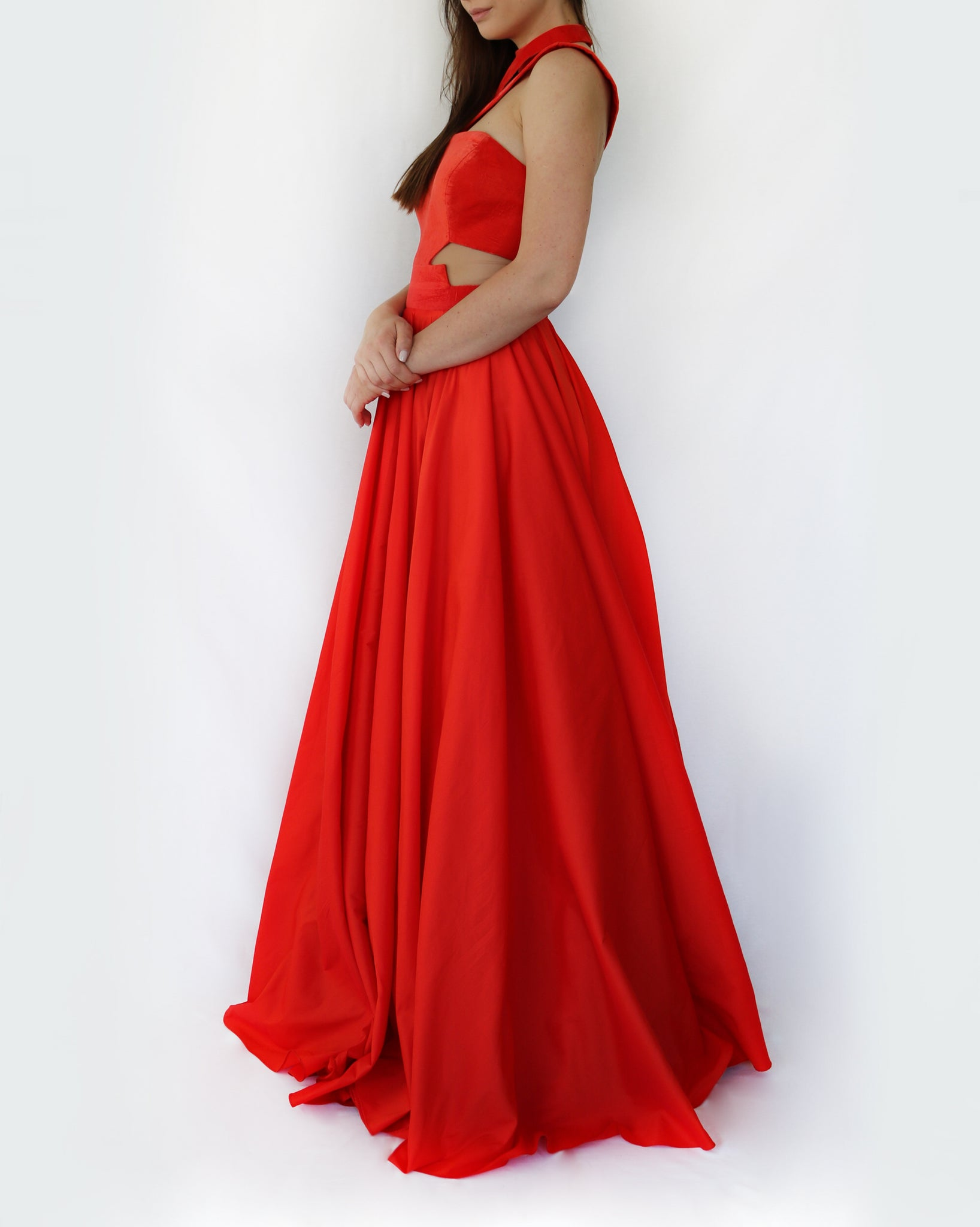 dhrupti red velvet gown