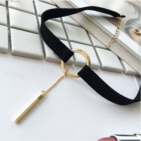 Korean-inspired Choker with Gold Dangler