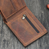 Short Bifold Wallet with Zipper Pocket