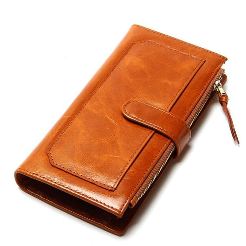 Threefold Wallet with Zipper and Hasp