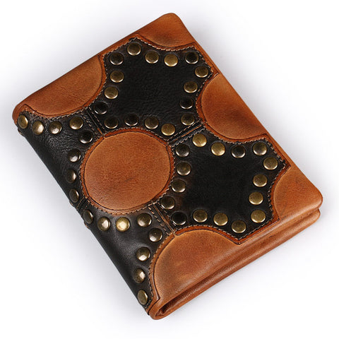 Short Retro Riveted Wallet