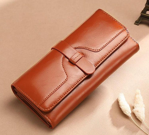 Long Wallet with Zipper and Hasp