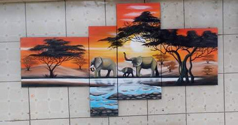 Hand Painted: Elephant Family - WallArtKenya- Art Kenya