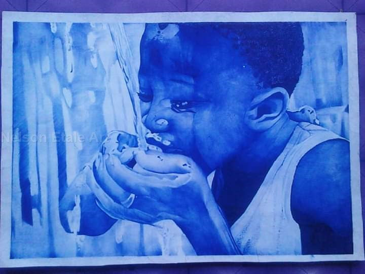 Ballpen Portrait: Thirst - WallArtKenya- Art Kenya