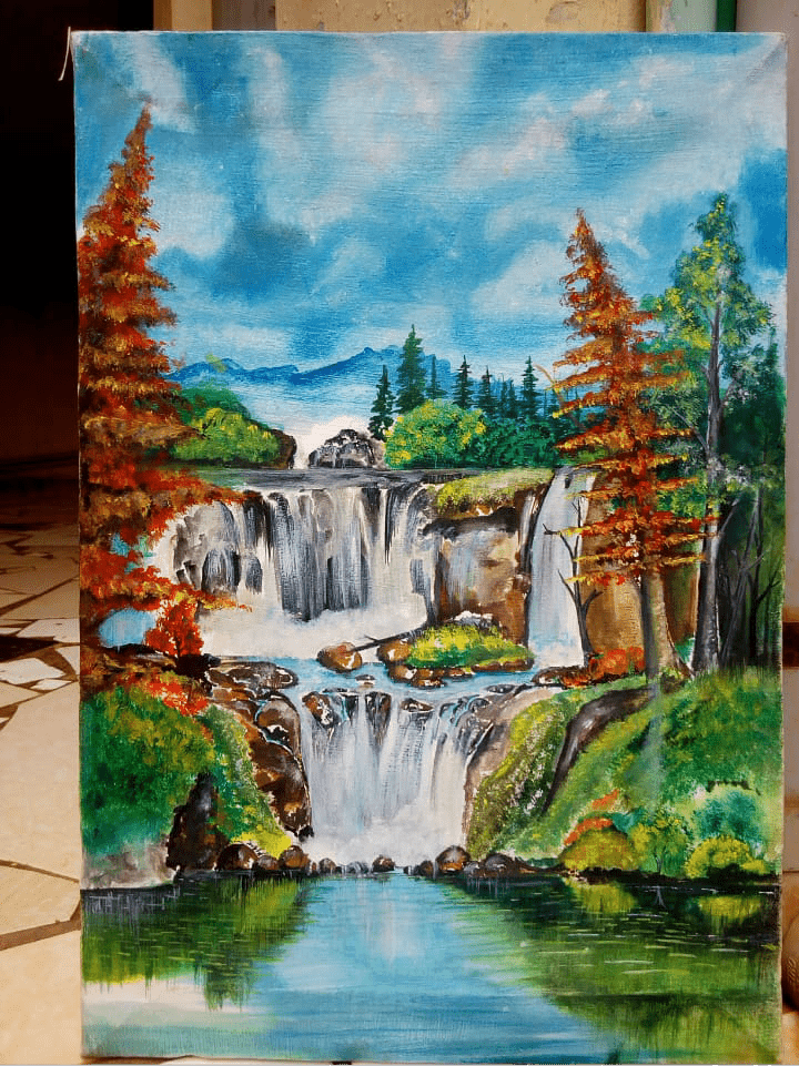 Hand Painted: Waterfalls - WallArtKenya- Art Kenya