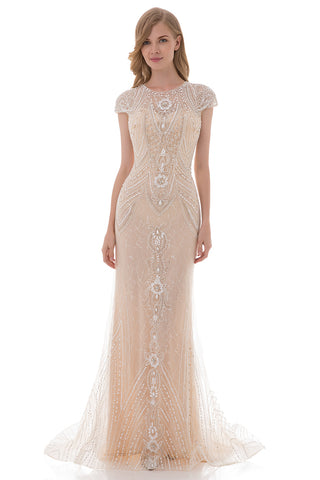Formal Champagne Lace With Beaded Cap Sleeves Long Evening Dress, LX477