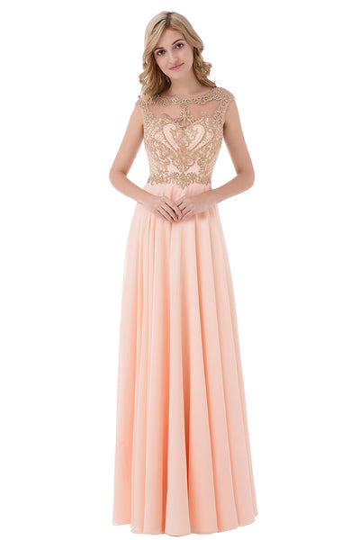 Light Pink Chiffon Long Formal Evening Dress, LX475