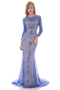 Modest Long Sleeves Royal Blue Lace Long Evening Dress, LX485
