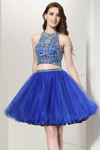Two Pieces Short Prom Dress For Girls Royal Blue Homecoming Dress, BS14
