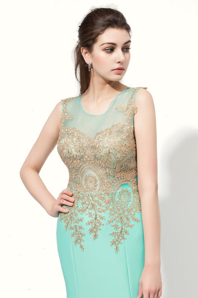 Mint Green Mermaid Lace Appliques Long Prom Dress, LX412