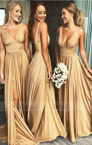 elegant v neck gold long bridesmaid dresses, wedding party dresses,BD98289