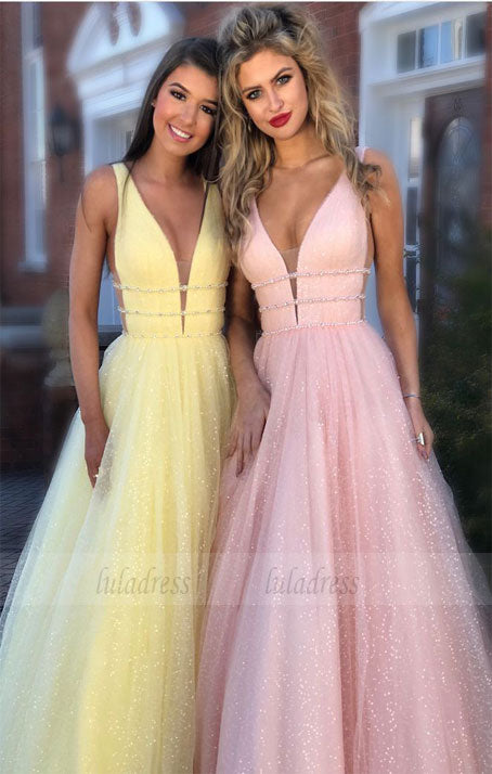 Sparkly V-Neck Prom Dresses  Long Party Gowns,BD98651