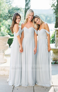 Off-Shoulder Bridesmaid Dress, Chiffon Bridesmaid Dress, Dress for Wedding,BD98913