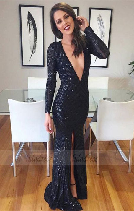 Prom dresses, sexy deep v neck prom dresses, cheap sparkle evening gowns,BD98209