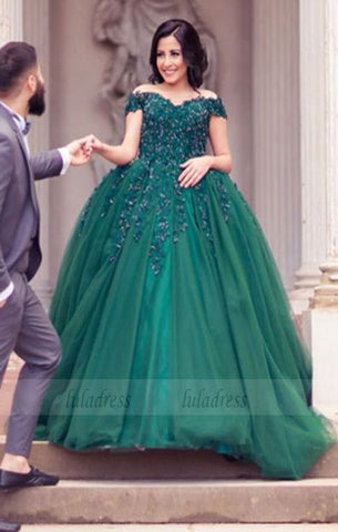 Elegant Green Lace Appliques Beaded Off The Shoulder Tulle Wedding Dresses Ball Gowns For Engagement Party,BD98172