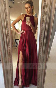 a line burgundy long prom dresses, simple high slit party dresses, round neck formal dresses with pleats,BD98720