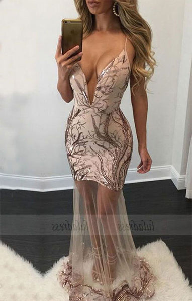unique deep v neck mermaid party dresses,BD98744