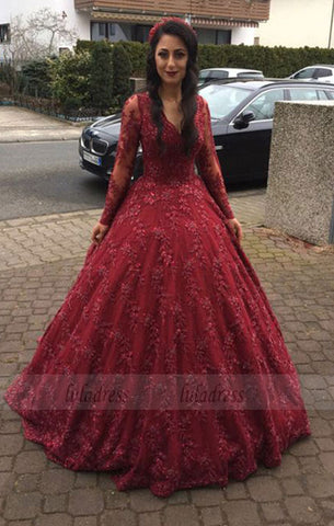 Long Sleeves V-neck Ball Gowns Lace Burgundy Prom Dresses,BD98166