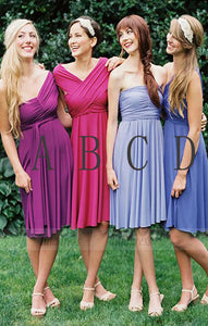 Custom Made Short A-Line Chiffon Evening Dress, Mismatched Bridesmaid Dresses,BD98944