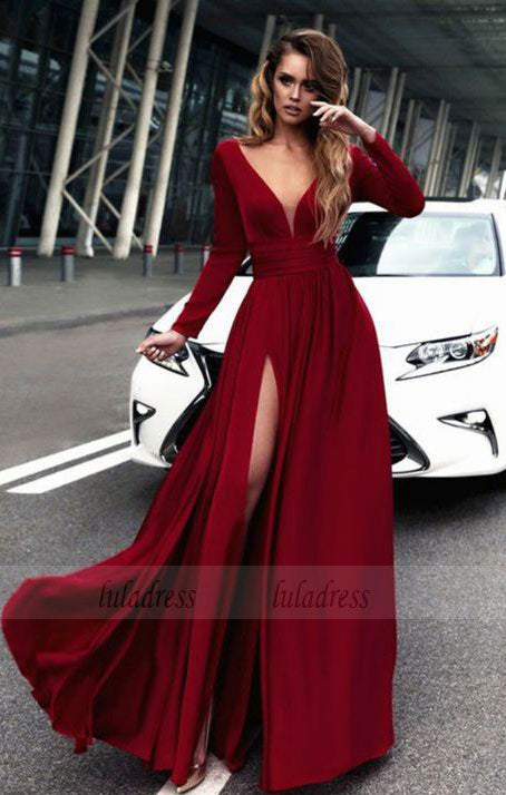 Gorgeous Long Prom Dresses, Long Sleeves Prom Dress,BD98050