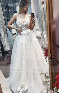 White sweetheart v neck lace applique long prom dress, wedding dress,BD98194