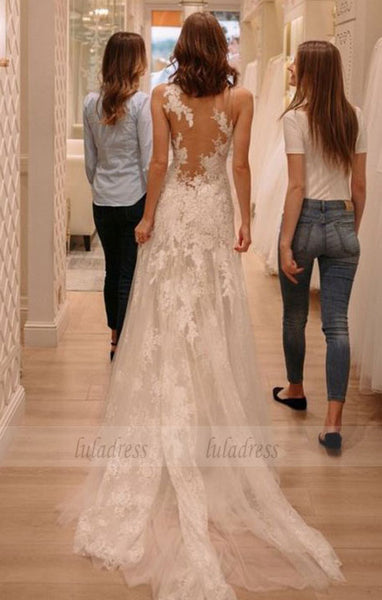 tight lace wedding dresses with court train, fashion wedding gowns,BD98328