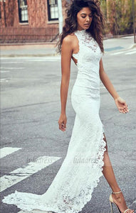 Sexy Lace Long Wedding Dresses Mermaid High Slit Bridal Gowns Backless,BD99279