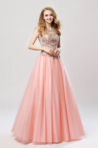 Sleeveless A-line Tulle Long Prom Dress Charming Ball Gown, LX471