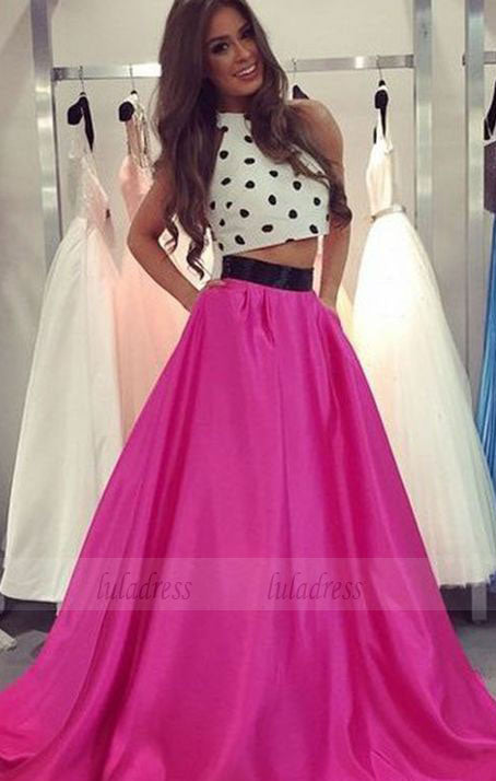 Two Piece  Prom Dresses,Long Halter Formal Party Dresses,BD98655