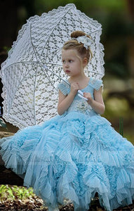 Blue New Designer Communion Dresses with Short Sleeves Flower Girl Gown Kids Evening Dresses Children Prom Dress,BD99765