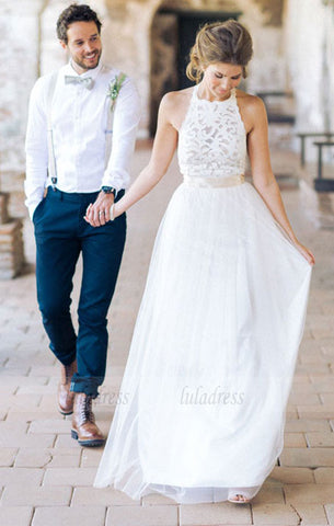 Lace Tulle Wedding Dress, A-line Wedding Dress, Chic Garden Wedding Dress,BD99620