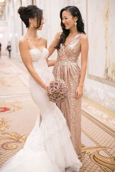 Sequin Bridesmaid Dress,Long Bridesmaid Gown,Sequined Bridesmaid Gowns,BD98319