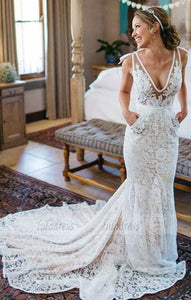 Elegant Mermaid Deep V-Neck Sleeveless Lace Court Train Wedding Dress,BD99584