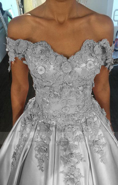 Silver Wedding Dresses Ball Gowns Lace Flowered Beaded Off The Shoulder, BD98330