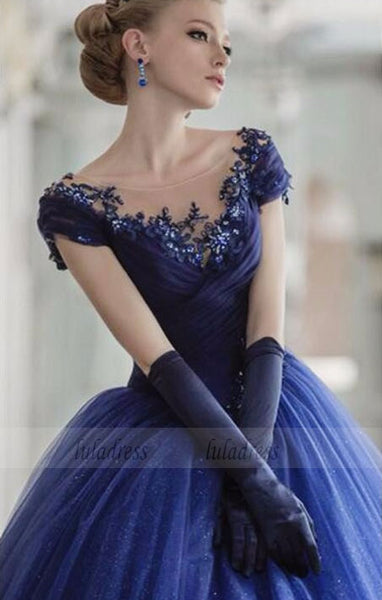 Short Cap Sleeve Beading Pleat Scoop Neck Sheer Custom Made Party Dress,BD98471