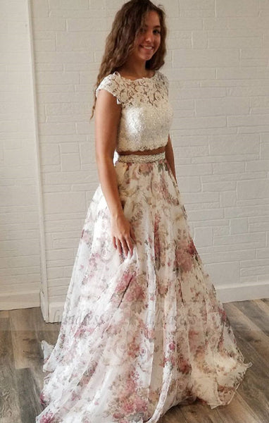 Unique Two Piece White Lace and Floral Print Long Party Dress,BD98703