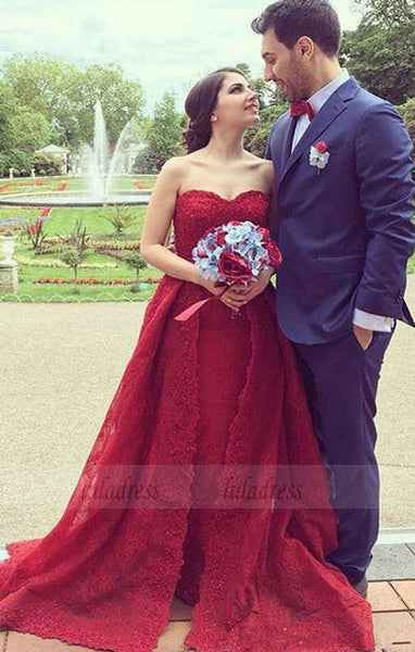 Charming A-Line Sweetheart Red Split Tulle Long Evening/Wedding Dress with Lace,BD98191