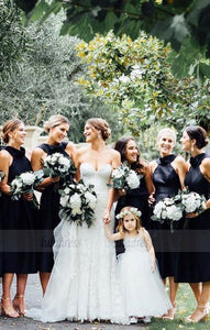 Cross V-Neck Bridesmaid Dresses, Mid-Calf Short Black Bridesmaid Dresses, Modest Bridesmaid Dresses,BD98264