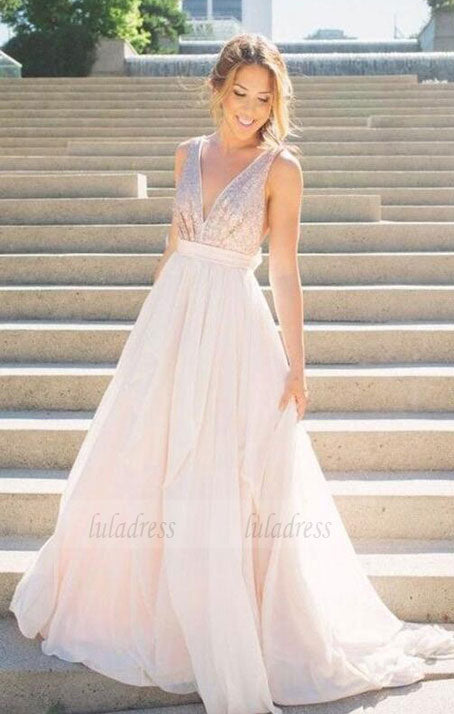 long bridesmaid dress,v-neck bridesmaid dress,sleeveless bridesmaid dress,BD98988