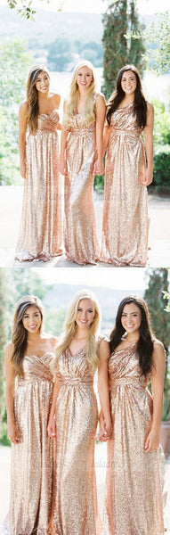 Sweetheart Rose Gold Bridesmaid Dress, Sparkly Sequin Bridesmaid Dress, Mismatched Long Bridesmaid Dresses,BD98112