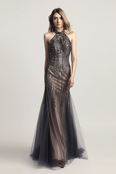 Elegant Halter Beaded Long Evening Prom Dress, LX437