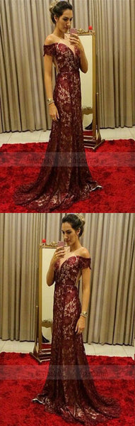 chic burgundy lace mermaid prom dresses, elegant off the shoulder evening gowns, unique sweep train party dresses ,BD98750