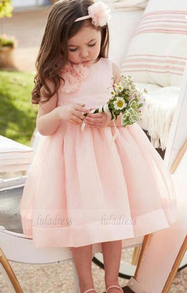 Pink Flower Girl's Dresses for Weddings Jewel Neck Princess Organza Tea Length Girls Pageant Communion Dresses,BD99766