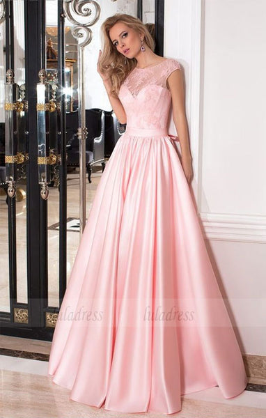 Elegant A-line Pink Long Satin Prom Dress Party Dress,BD99773