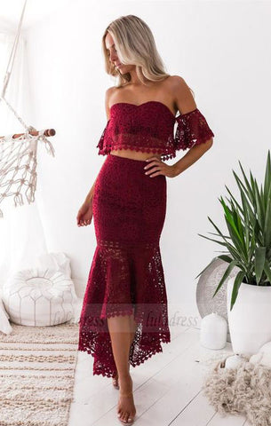 off the shoulder prom dresses, unique two piece high low lace party dresses,BD98678
