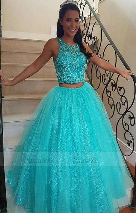 Two Piece Formal Gowns Appliques Party Graduation Pageant Dresses,BD99887
