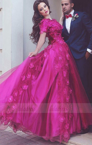 Dramatic A-Line Jewel Rose Red Tulle Long Evening/Prom/Wedding Dress with Appliques,BD98190