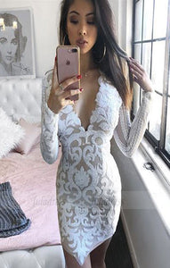 modest white lace short prom dresses, simple party dresses with sleeves
